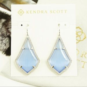 Kendra Scott Alex Periwinkle Earrings Silver Tone